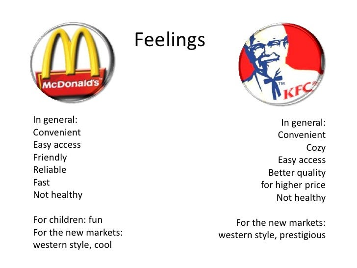 macdonalds vs kfc Comparison mcdonalds vs kfc service product mcdonald mcdonald's products are mainly sold as a set meal and a set meal will include a hamburger, fries and soft drink this is the usual format of a set meal.