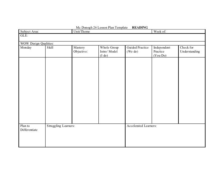 Mc Donogh Lesson Plan Template Reading - Template lesson plan