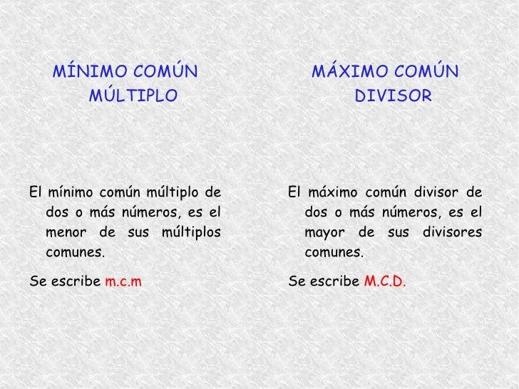 Máximo Común Divisor y Mínimo Común Múltiplo Slide 2