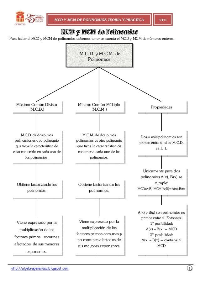 http://algebragenerosa.blogspot.com 1 Para hallar el MCD y MCM de polinomios debemos tener en cuenta el MCD y MCM de númer...