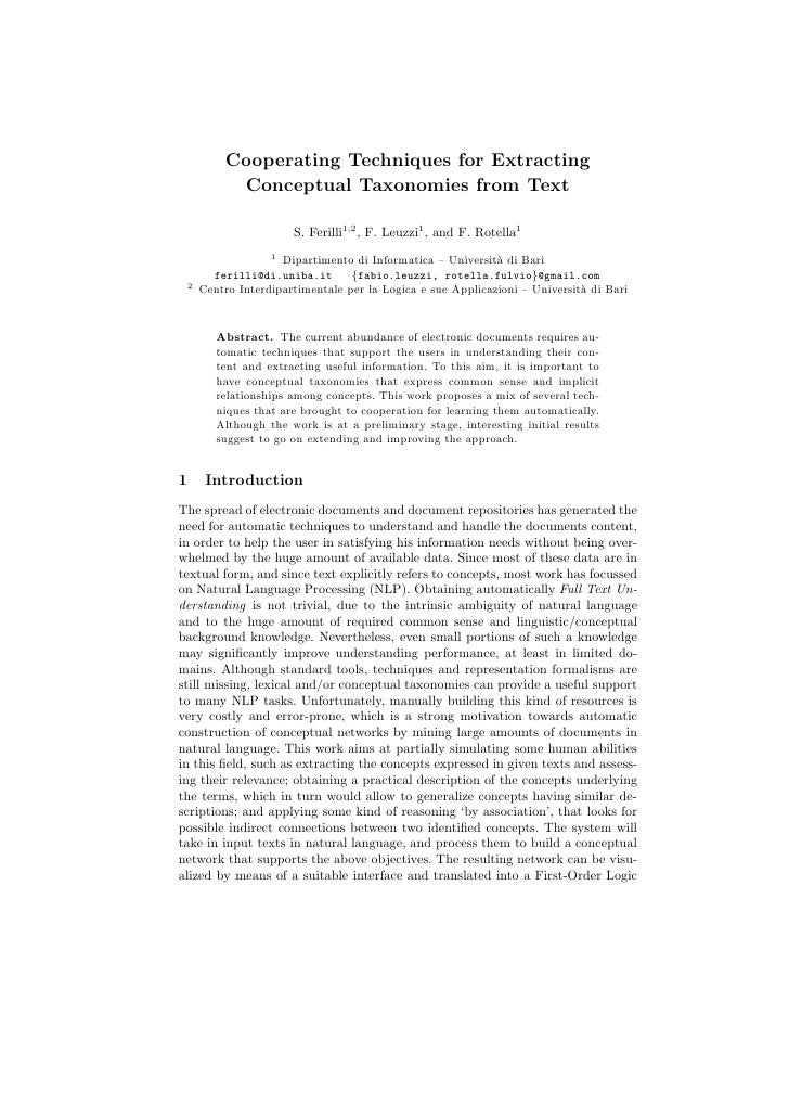 Cooperating Techniques for Extracting             Conceptual Taxonomies from Text                         S. Ferilli1,2 , ...