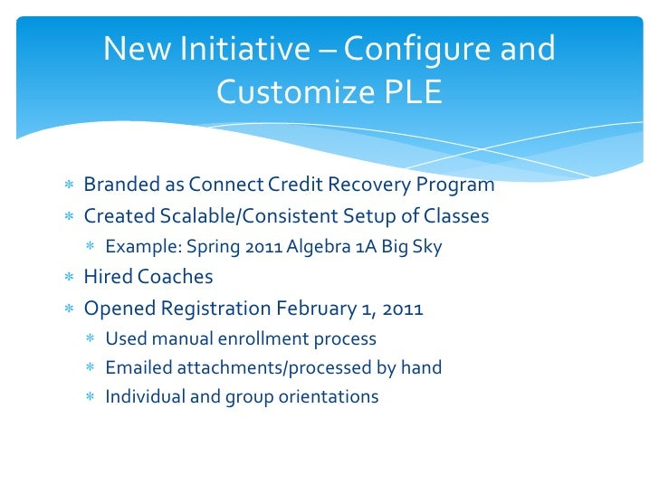 New Initiative – Configure and         Customize PLEBranded as Connect Credit Recovery ProgramCreated Scalable/Consistent ...