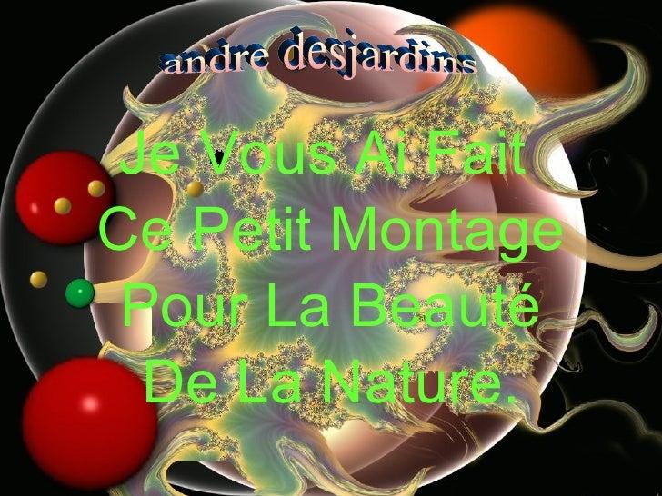 <ul><li>Je Vous Ai Fait  </li></ul><ul><li>Ce Petit Montage </li></ul><ul><li>Pour La Beauté </li></ul><ul><li>De La Natur...