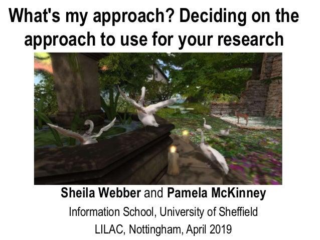 Sheila Webber and Pamela McKinney Information School, University of Sheffield LILAC, Nottingham, April 2019 What's my appr...