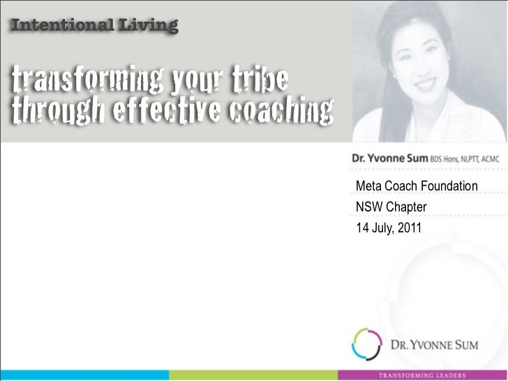 Intentional Livingtransforming your tribethrough effective coaching                             Meta Coach Foundation     ...