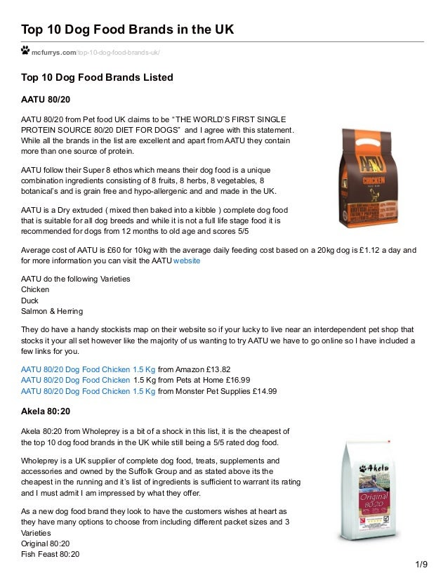 Mcfurryscom Top 10 Dog Food Brands In The Uk
