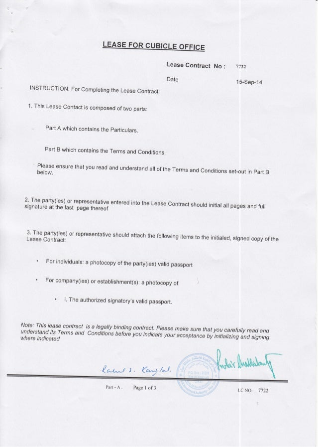 Lease Contract Date 11)u0027u0027 1 5 Sep 14 No: INSTRUCTION ...  Lease Agreement Copy