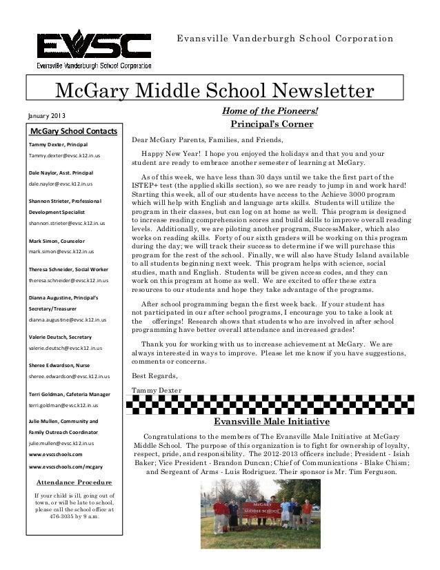 Evansville Vanderburgh School Corporation           McGary Middle School NewsletterJanuary 2013                           ...