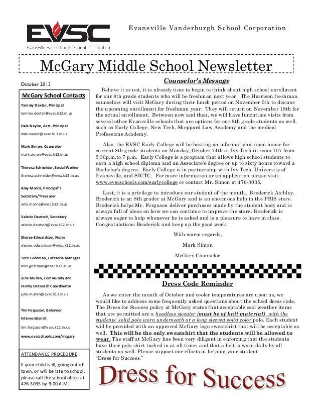October 2013 Evansville Vanderburgh School Corporation McGary Middle School Newsletter McGary School Contacts Tammy Dexter...