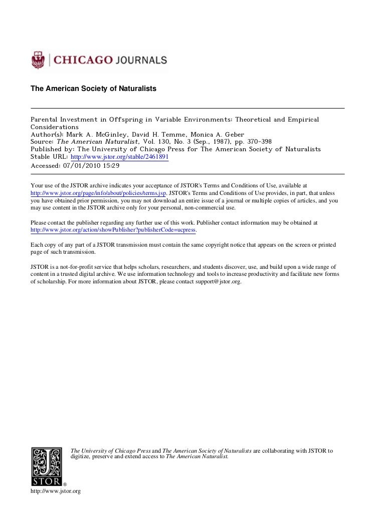 The American Society of NaturalistsParental Investment in Offspring in Variable Environments: Theoretical and EmpiricalCon...