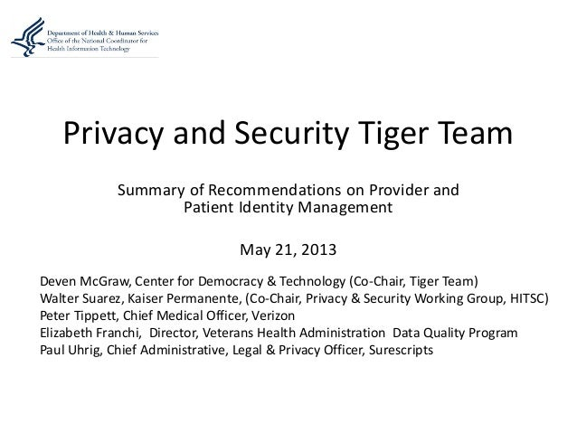 Privacy and Security Tiger TeamSummary of Recommendations on Provider andPatient Identity ManagementMay 21, 2013Deven McGr...