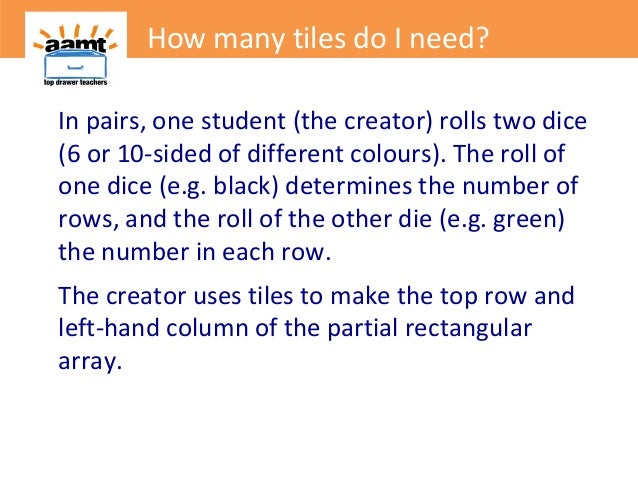 In pairs, one student (the creator) rolls two dice(6 or 10-sided of different colours). The roll ofone dice (e.g. black) d...