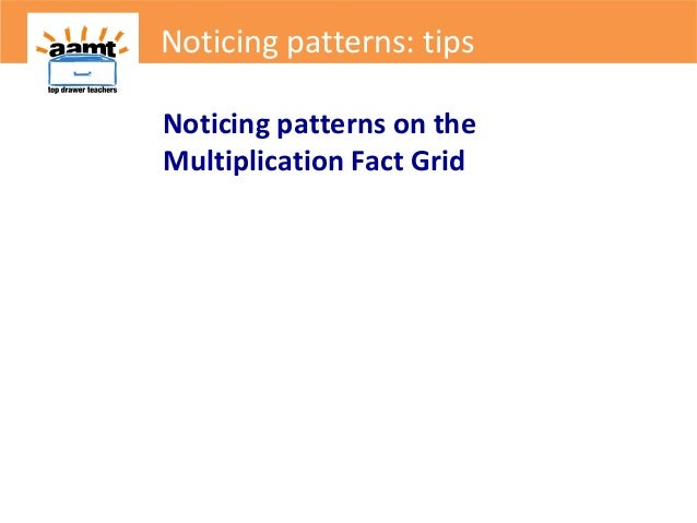 Noticing patterns on theMultiplication Fact GridNoticing patterns: tips