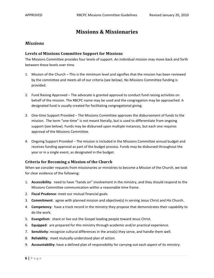 Mission Commitee Guidelines