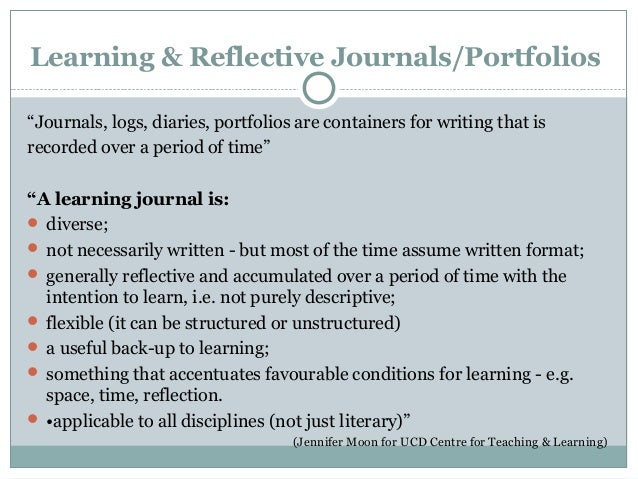 Journals for learning, journals for teaching: using student accounts …