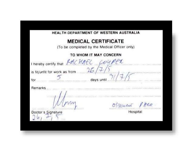 Medical Certificate Template Australia  CityEsporaCo