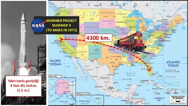 4300 km. Yakıt tankı genişliği 4 feet 8½ inches (1.5 m.) MARINER PROJECT MARINER 9 (TO MARS IN 1971)