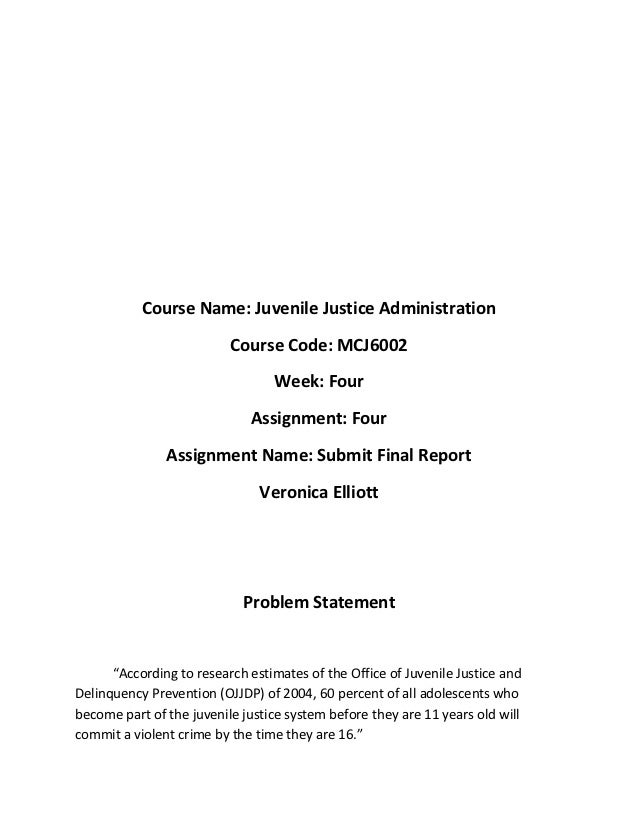Course Name: Juvenile Justice Administration                          Course Code: MCJ6002                                ...