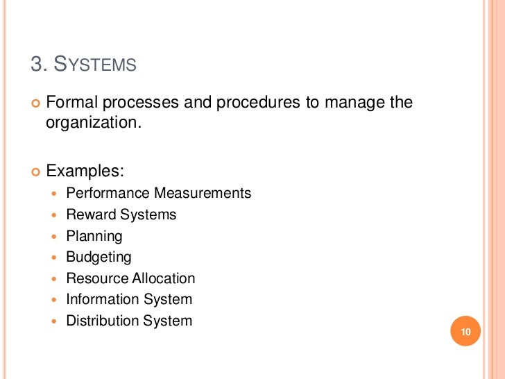 3. SYSTEMS   Formal processes and procedures to manage the    organization.   Examples:       Performance Measurements ...