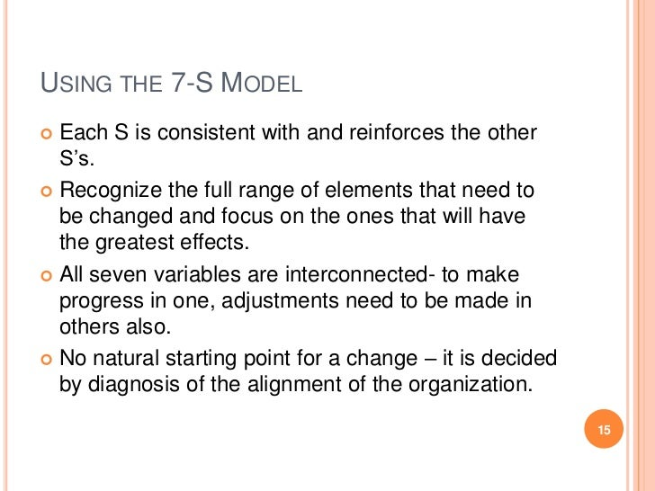 USING THE 7-S MODEL Each S is consistent with and reinforces the other  S's. Recognize the full range of elements that n...