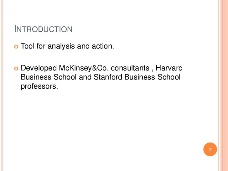 INTRODUCTION   Tool for analysis and action.   Developed McKinsey&Co. consultants , Harvard    Business School and Stanf...