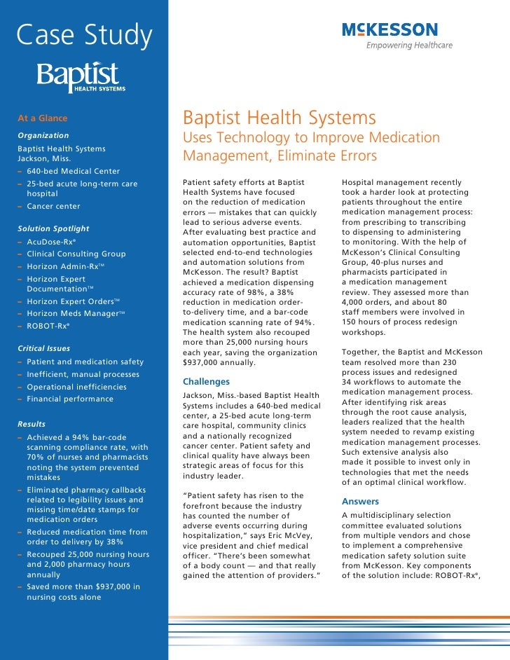 Case Study  At a Glance                          Baptist Health Systems Organization                                      ...