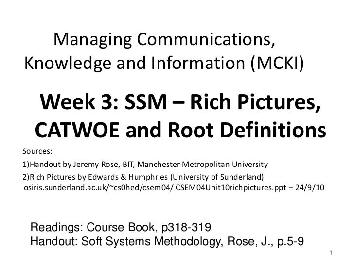 Managing Communications,Knowledge and Information (MCKI)   Week 3: SSM – Rich Pictures,   CATWOE and Root DefinitionsSourc...