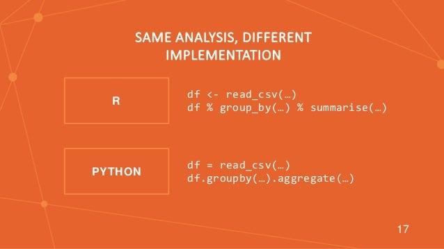 T df <- read_csv(…) df % group_by(…) % summarise(…) df = read_csv(…) df.groupby(…).aggregate(…) PYTHON R SAME ANALYSIS, DI...