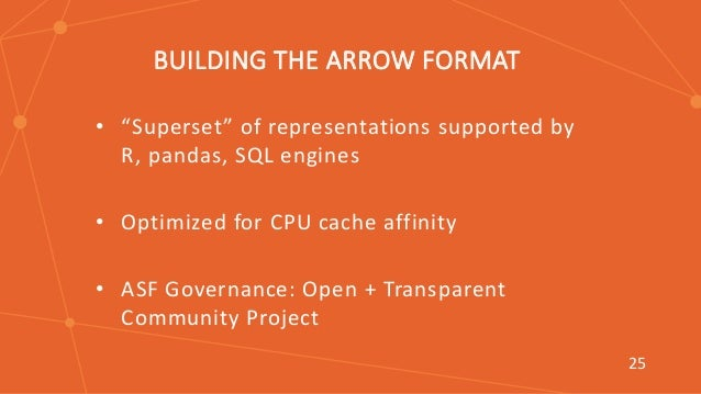 """T BUILDING THE ARROW FORMAT • """"Superset"""" of representations supported by R, pandas, SQL engines • Optimized for CPU cache ..."""