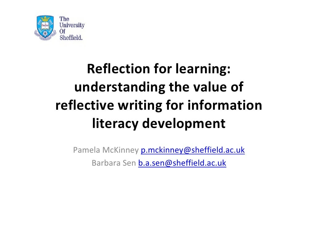 information literacy reflective essay Personal reflection: study information overall, i am very passionate about literacy, both reading and writing.