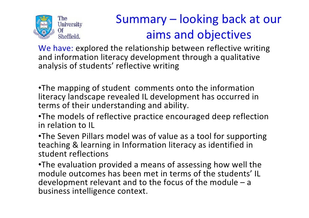 information literacy reflective essay Ela-literacyreflective writing about growth in writing through literacy of chosen genre (eg, see skills lists for letter, personal essay.