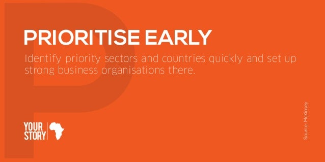 Identify priority sectors and countries quickly and set up strong business organisations there. PRIORITISE EARLY Source:Mc...