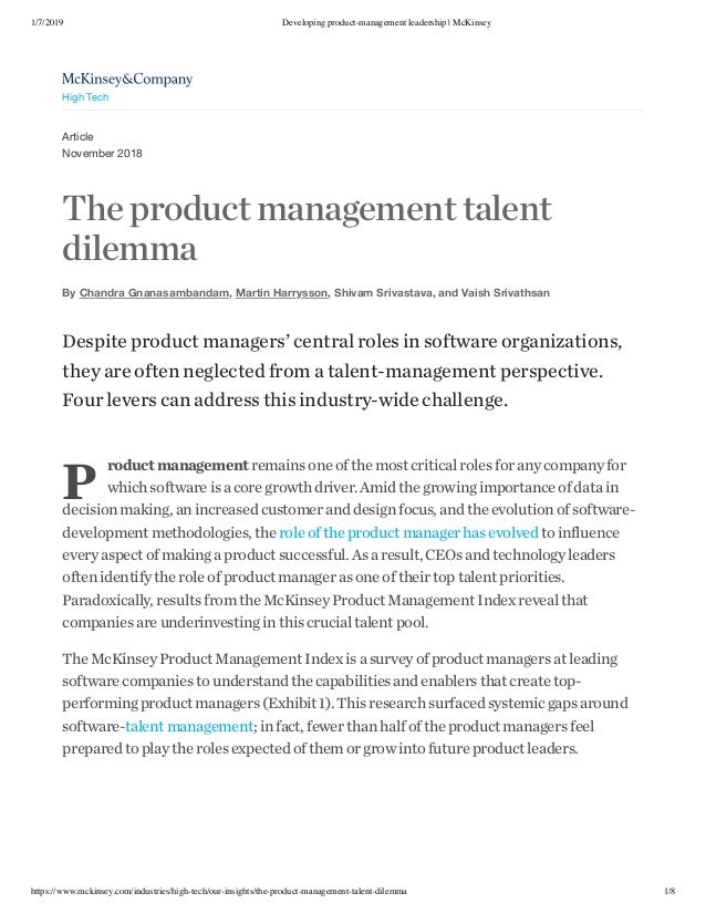 1/7/2019 Developing product-management leadership | McKinsey https://www.mckinsey.com/industries/high-tech/our-insights/th...