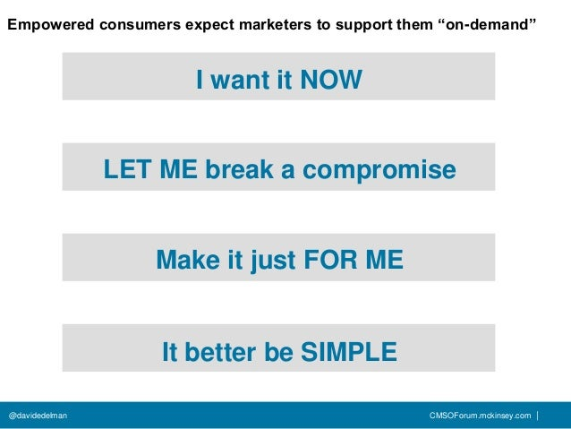 """Empowered consumers expect marketers to support them """"on-demand""""                      I want it NOW                LET ME ..."""