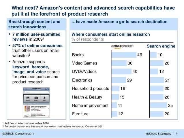 McKinsey & Company   7 …have made Amazon a go-to search destinationBreakthrough content and search innovations… ▪ 7 millio...