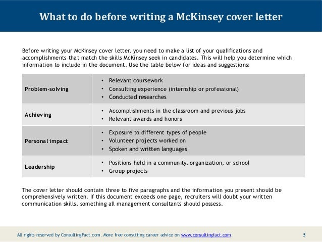 McKinsey Cover Letter Sample