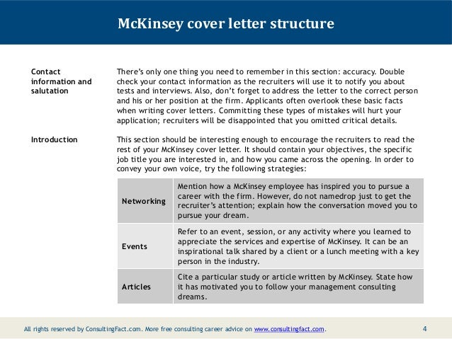 write a cover letter mckinsey