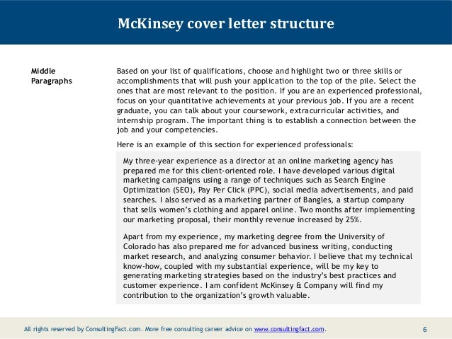 McKinsey cover letter structure Middle Paragraphs Based on your list ...