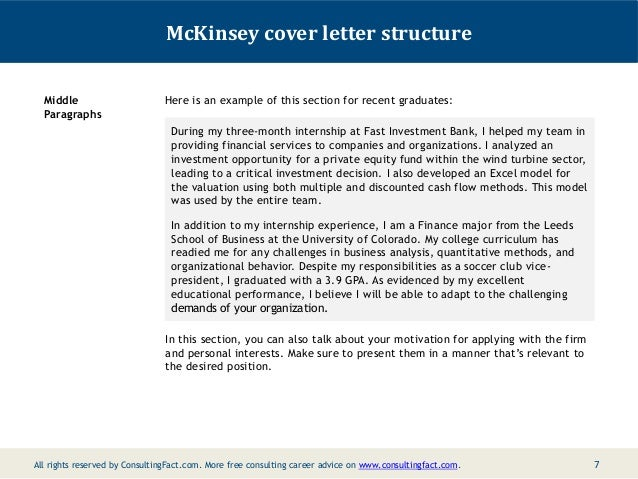 mckinsey cover letter sample internship cover letters - Cover Letter For Internship Example