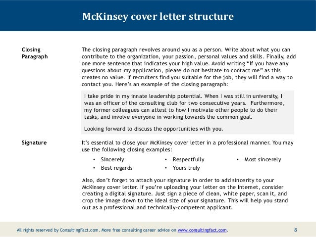 Mckinsey Cover Letter Advice