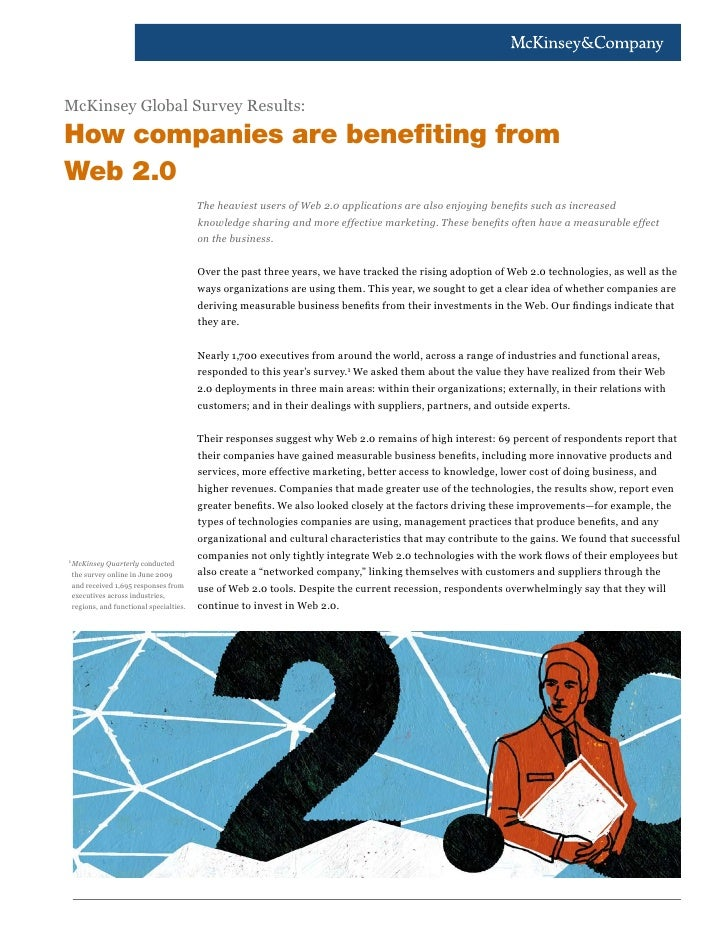 McKinsey Global Survey Results:How companies are benefiting fromWeb 2.0                                           The heav...