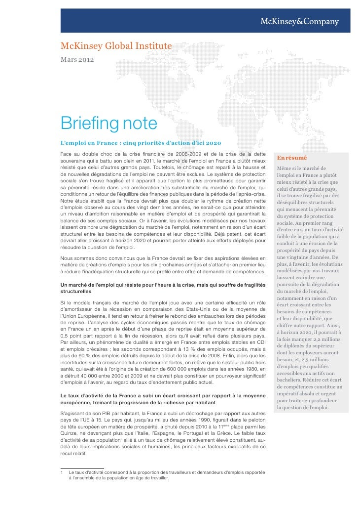 McKinsey Global InstituteMars 2012Briefing noteL'emploi en France : cinq priorités d'action d'ici 2020Face au double choc ...