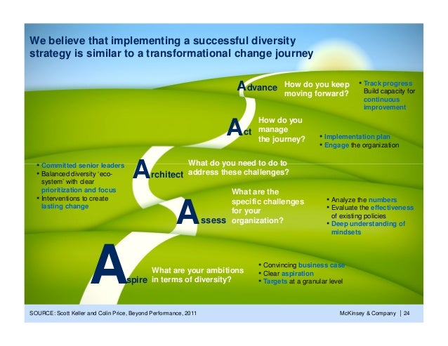 We believe that implementing a successful diversitystrategy is similar to a transformational change journey               ...
