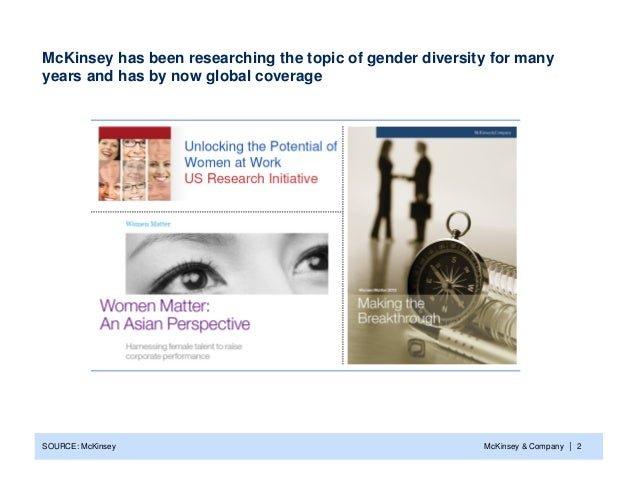 McKinsey has been researching the topic of gender diversity for manyyears and has by now global coverageSOURCE: McKinsey  ...