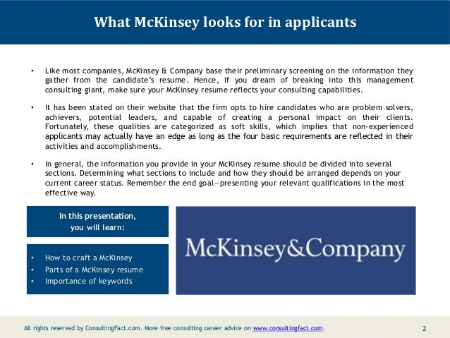 McKinsey Management Resume Consulting Resume Sample Sample; 2.  Management Consulting Resume Sample