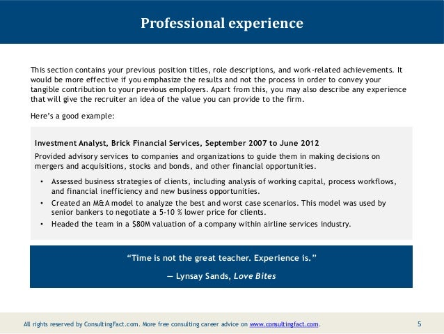 Professional Experience ...