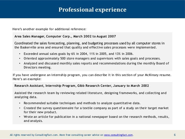 5; 6. Professional Experience Hereu0027s Another Example ...  Sample Consulting Resume