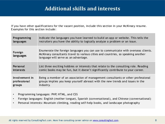 Resume Resume Skills Interests Example mckinsey resume sample 7 8 additional skills and interests