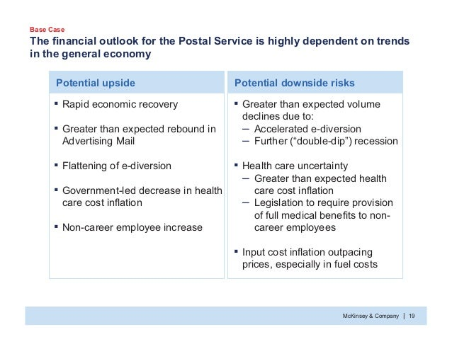 McKinsey & Company 19| The financial outlook for the Postal Service is highly dependent on trends in the general economy ƒ...