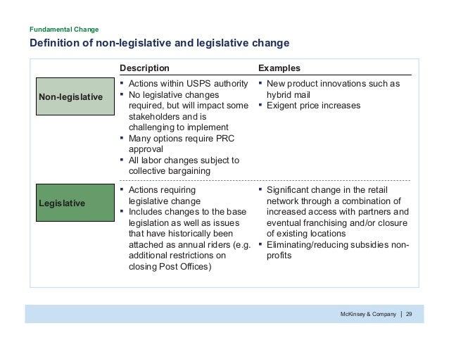 McKinsey & Company 29| Definition of non-legislative and legislative change Fundamental Change Description Examples Legisl...